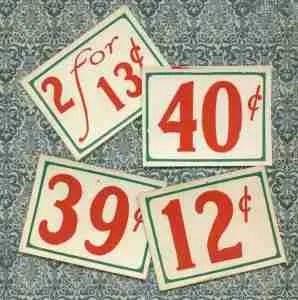 Vintage Price Signs