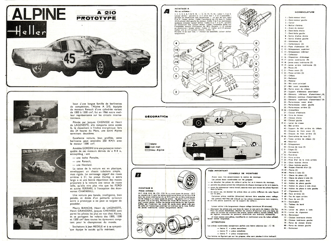 Heller Alpine-Renault A210 Le Mans Instructions