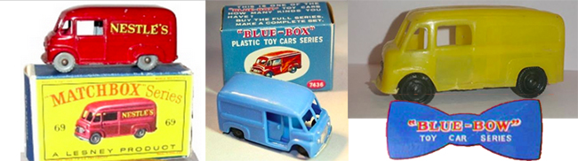 Coomer Delivery vans by (from left) Matchbox, Blue Box and Blue Bow.
