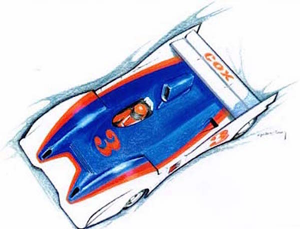 Cox Can Am Manta slot car design sketch