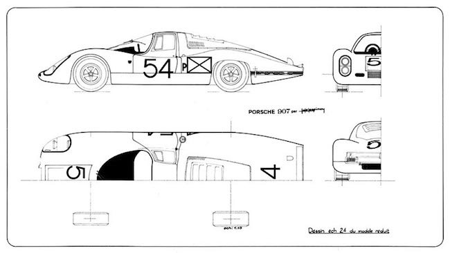 Heller Porsche 907 Daytona de Lespinay technical drawing