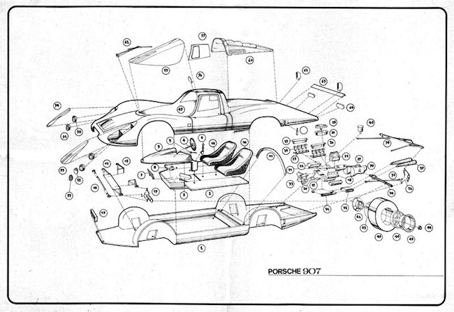 Heller Porsche 907 Daytona de Lespinay assembly instructions