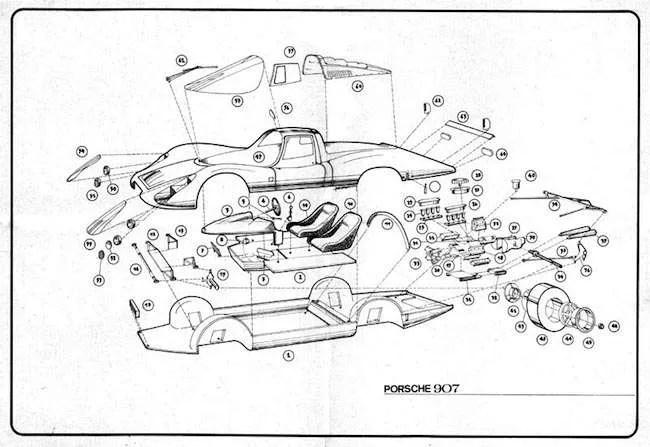 Heller Porsche 907 Daytona de Lespinay assembly instructions