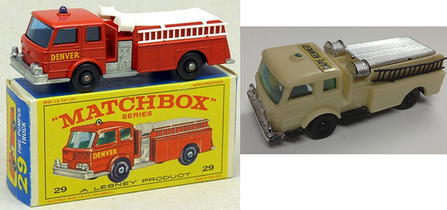 Pumper Trucks by Matchbox (left) and Gordy Mite