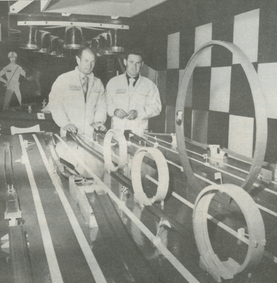 Parnelli Jones and Johnny Unser play with Johnny Lightning