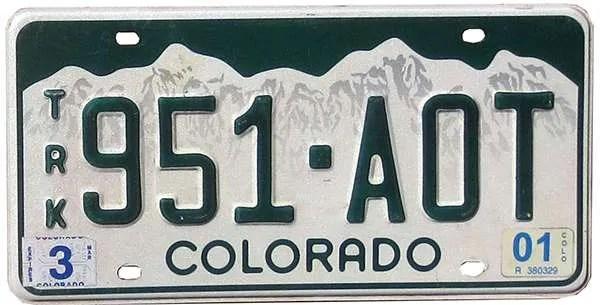 2001 Colorado license plate