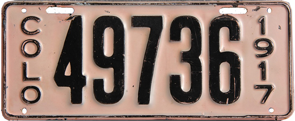 1917 Colorado license plate