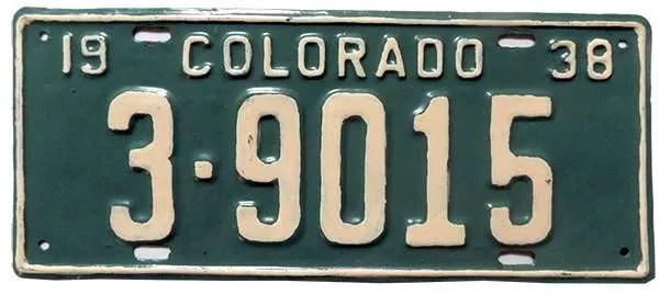 1938 Colorado license plate