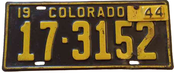 1944 Colorado license plate