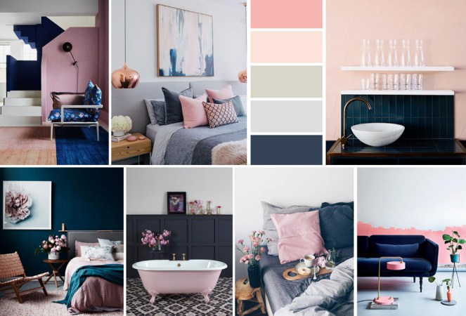 Navy & Blush Pink Interior inspiration