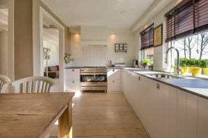 Stylish kitchen free of clutter and clean.