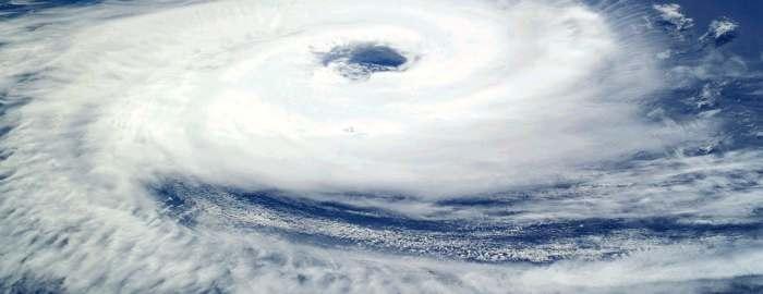 Eye of a hurricane on the ocean.