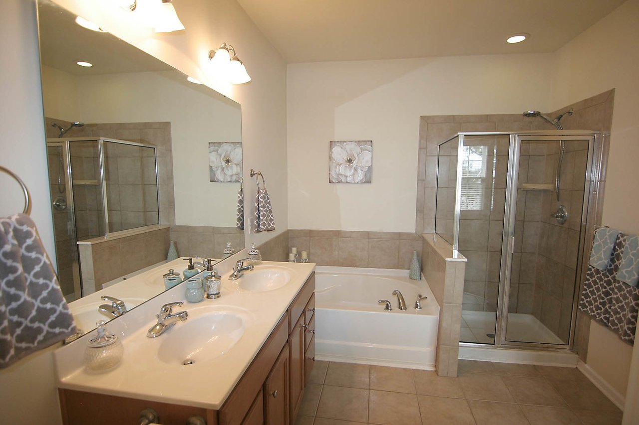 master bathroom with walk-in shower in an apex townhome for sale