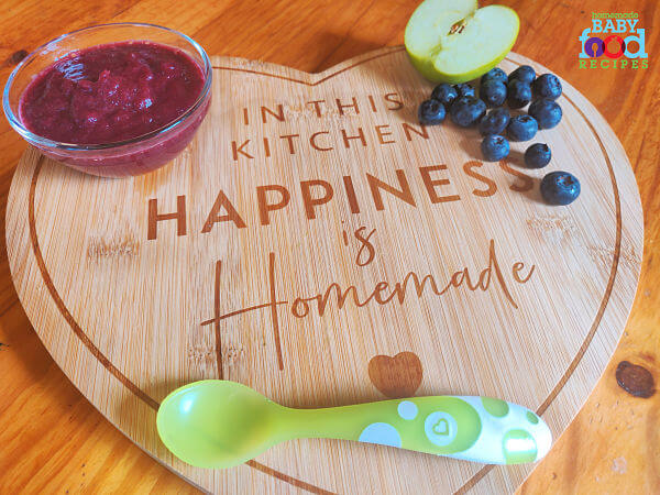 Blueberry and apple puree for baby with fresh blueberries  and half an apple