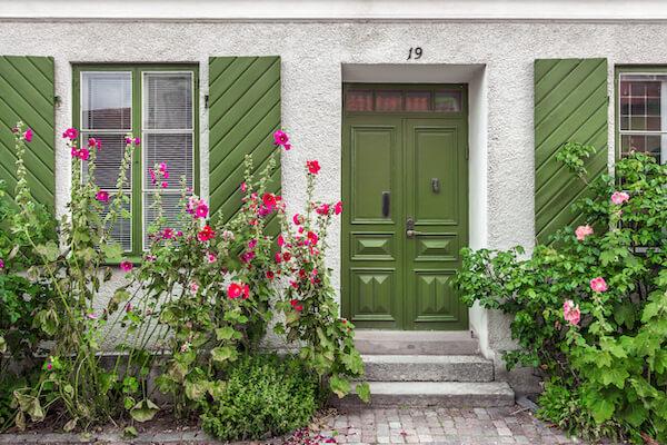 house with green front door