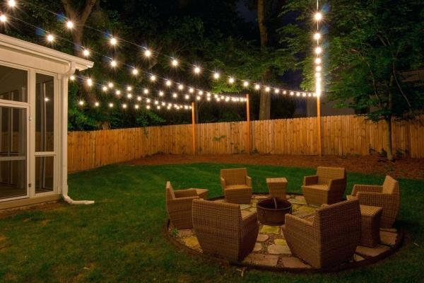 backyard with lighting
