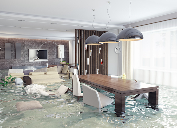 home damaged by contractor flooded room