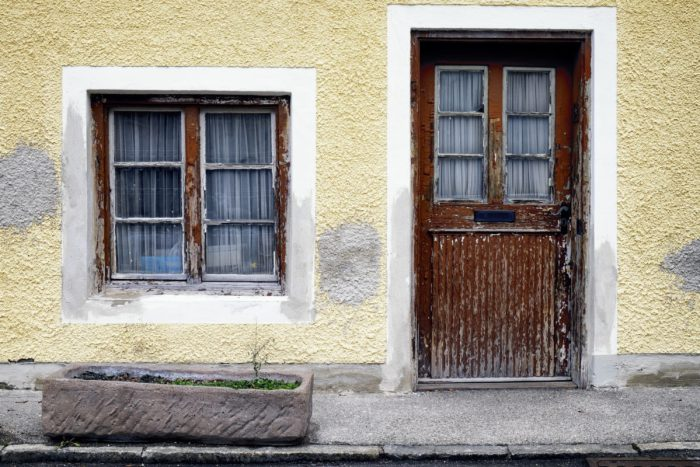 old warped door