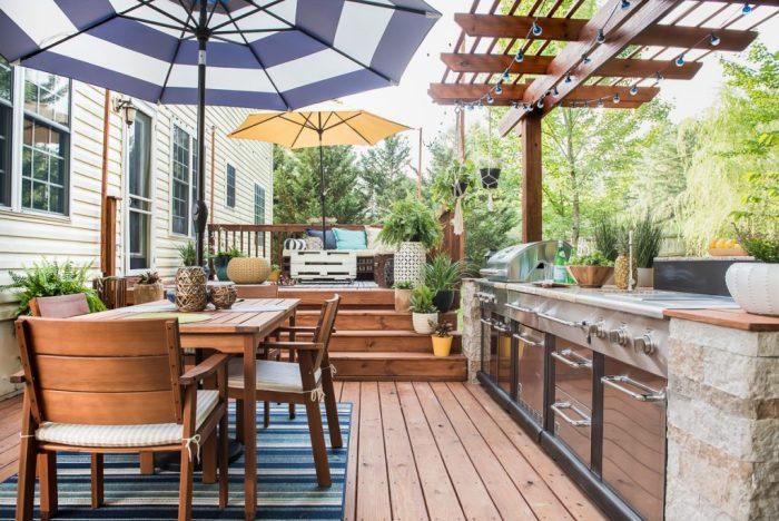 hardscape backyard deck outdoor kitchen