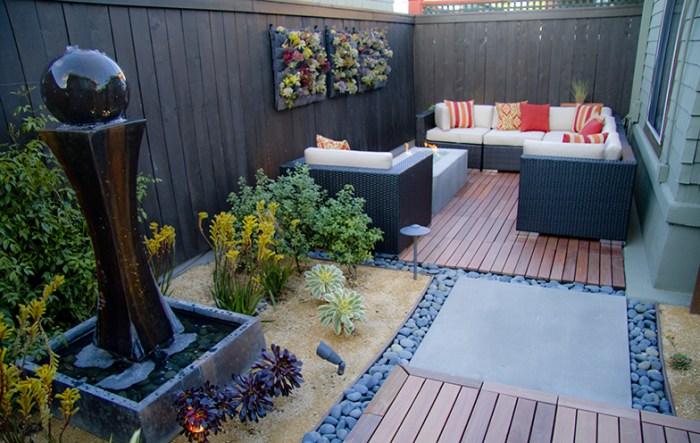 hardscape backyard water fountain deck patio