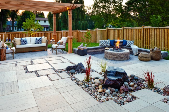 backyard hardscaping firepit