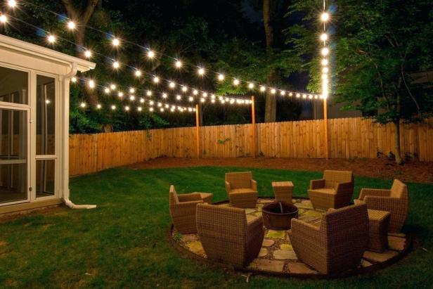 string lights, outdoor lighting, string lights backyard, backyard lighting