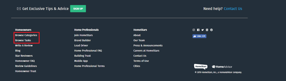 how to select a pro on homestars footer