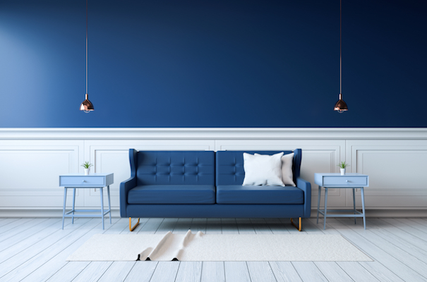 blue couch on a blue wall in classic blue pantone colour of the year