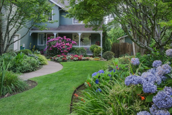 front yard landscaping of home