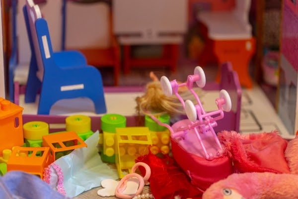 messy toys in playroom