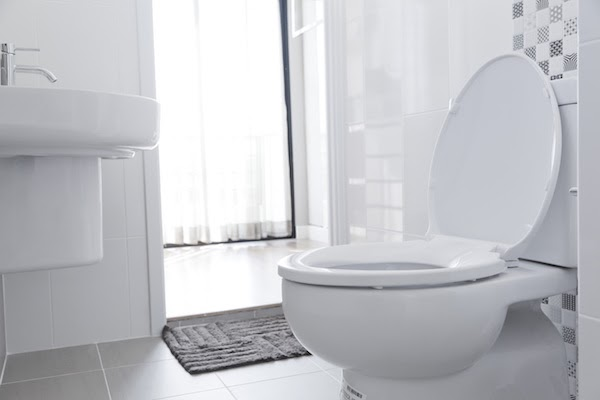 close up of toilet in a spotless bathroom