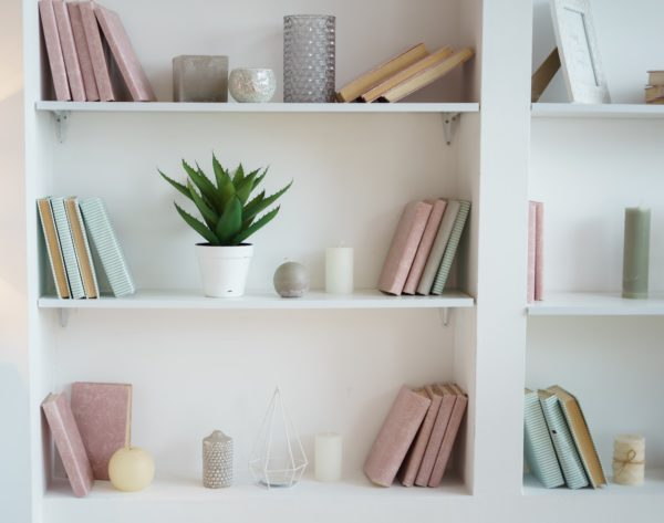 stylish personal touches on a bookshelf