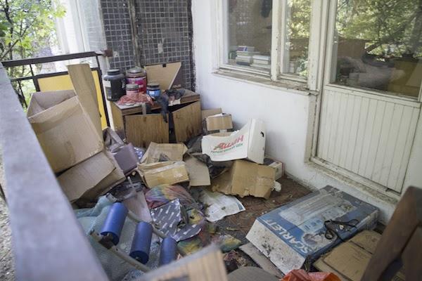 messy condo balcony
