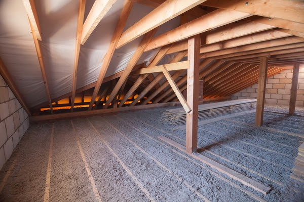 attic with blown in insulation