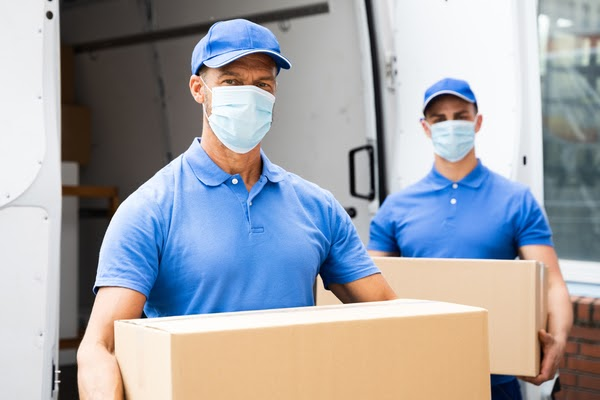 movers wearing masks