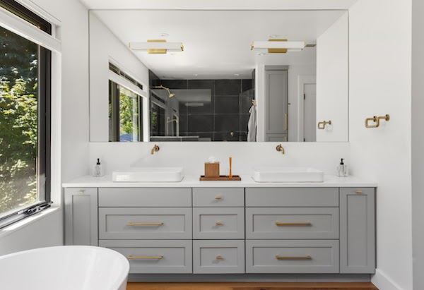 grey bathroom vanity with double sinks