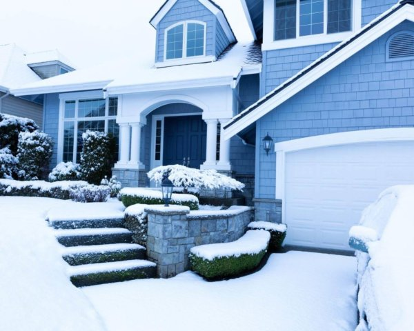 home exterior in snow