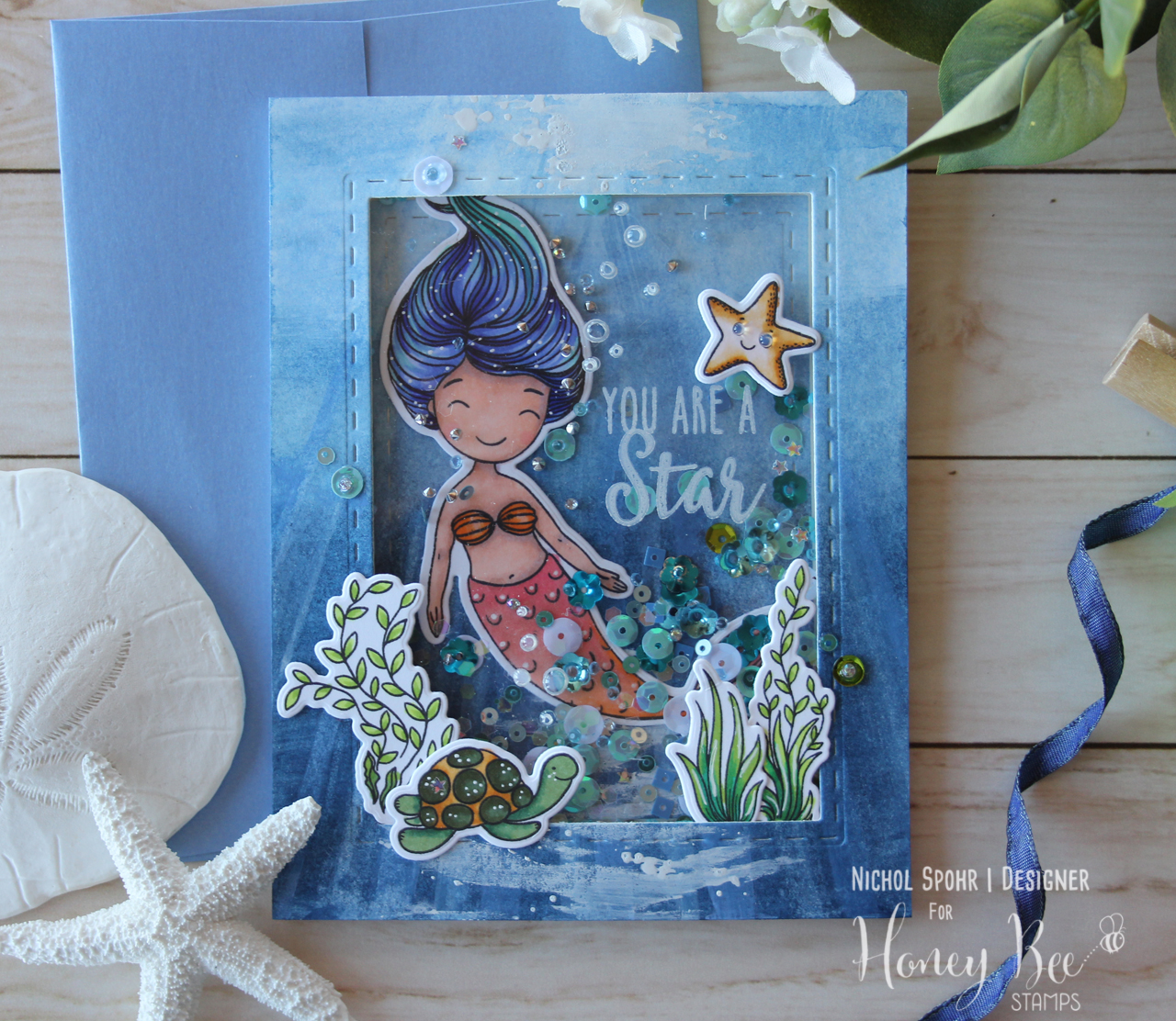 You Are A Star Mermaid Shaker Card