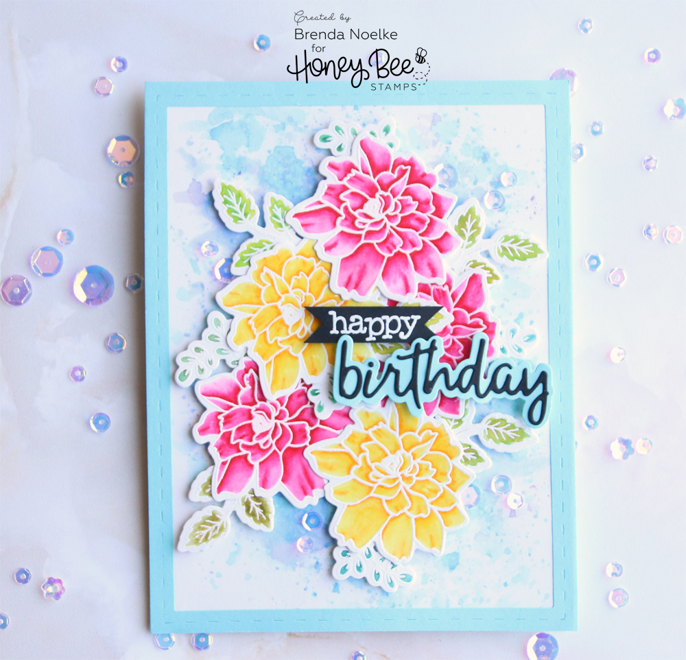 Happy birthday lotus blossom honey bee stamps clear iris sequins were scattered around the flowers for the perfect amount of sparkle i love how these sequins match the background but add just the izmirmasajfo