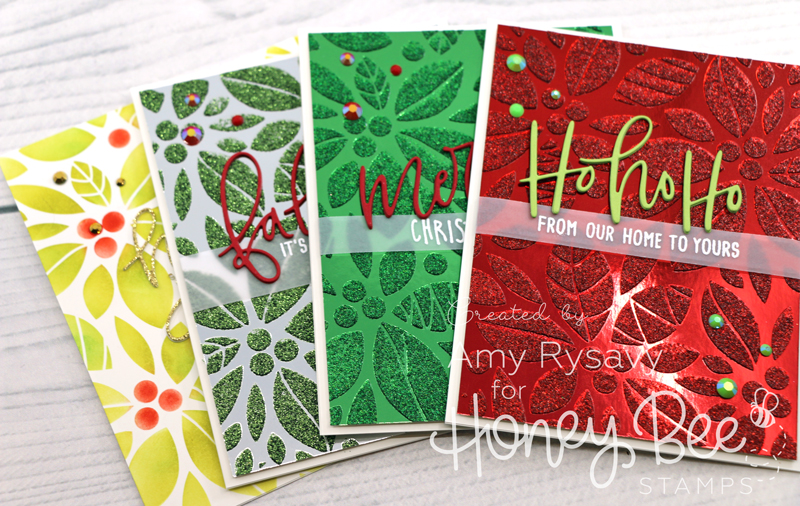 Poinsetta Background Stencil Christmas Cards with Amy Rysavy