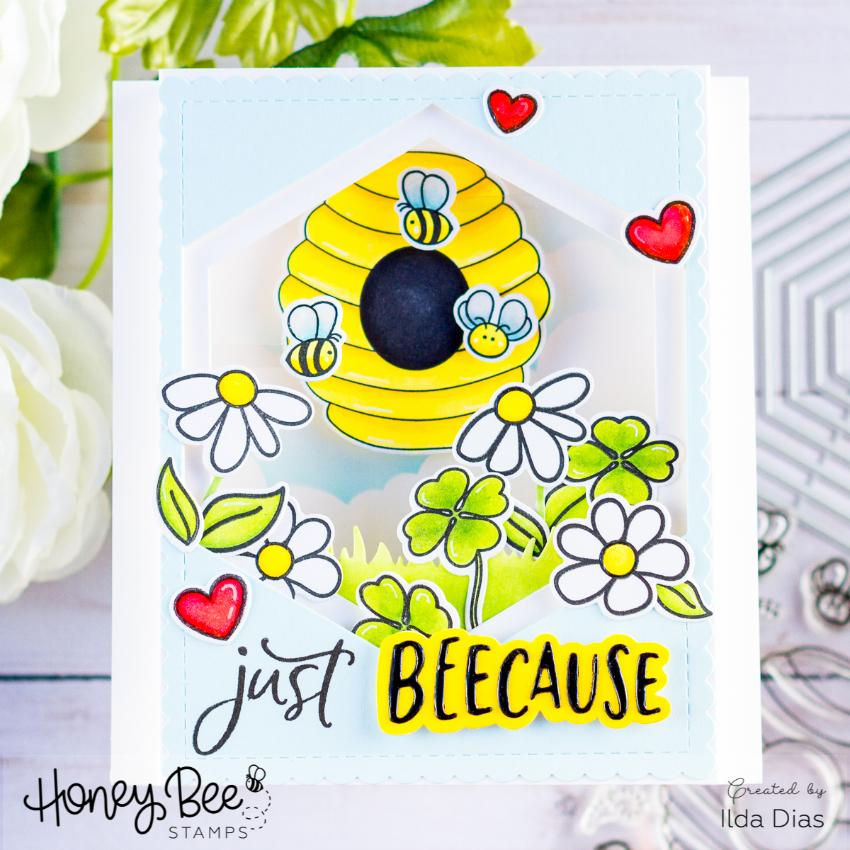 Honey Bee Spring Scene Pop-Up Shadow Box Card