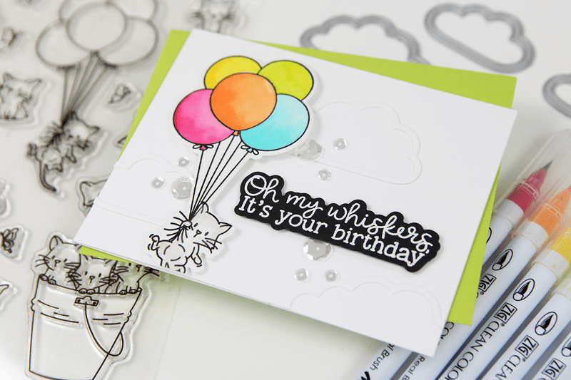 Zig Clean Color Real Brush Marker Watercoloring with the Oh My Whiskers Stamps and Dies