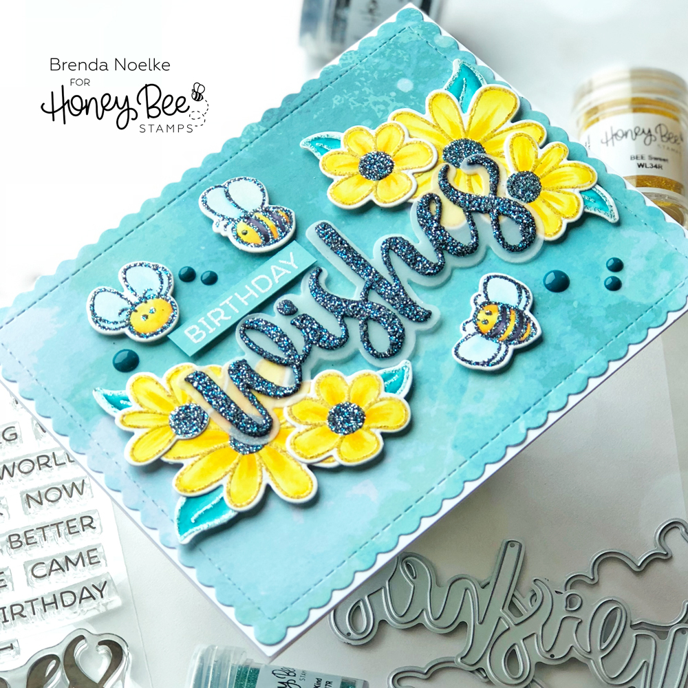 Birthday Wishes featuring The Bee's Knees Embossing Powder Trio