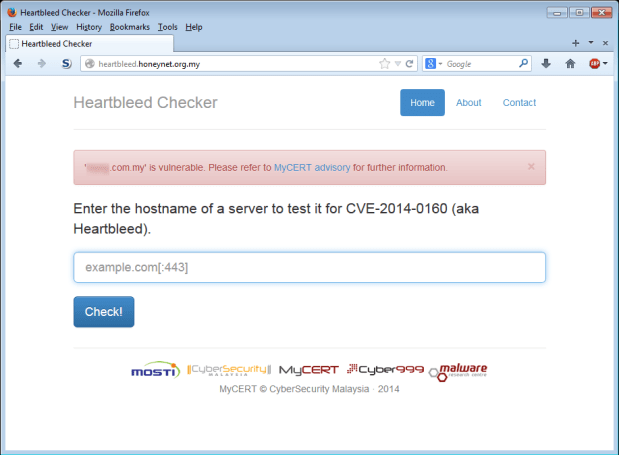 Heartbleed hosted on honeynet.org.my