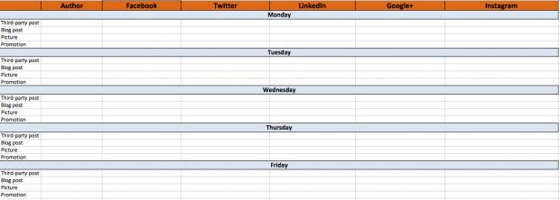 Social media content calendar example A