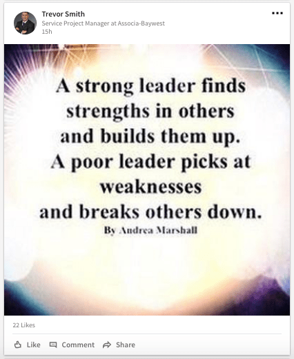 Example post of a leadership quote on LinkedIn feed
