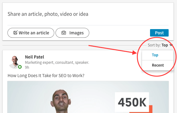 """Screenshot of how to switch your LinkedIn feed settings to """"recent"""" instead of """"top"""""""