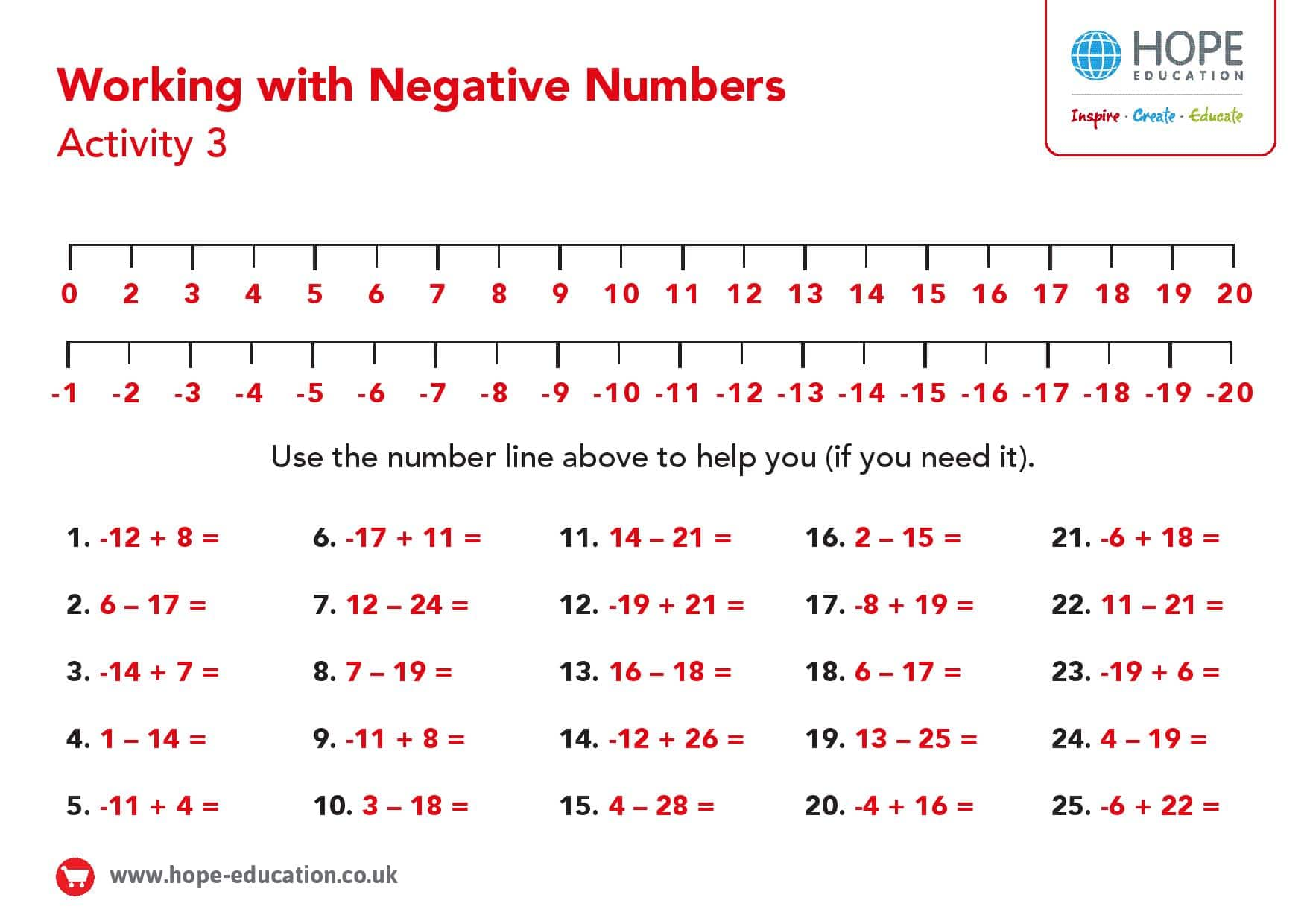 hight resolution of Number line with negative numbers: A printable worksheet - Hope Education  blog