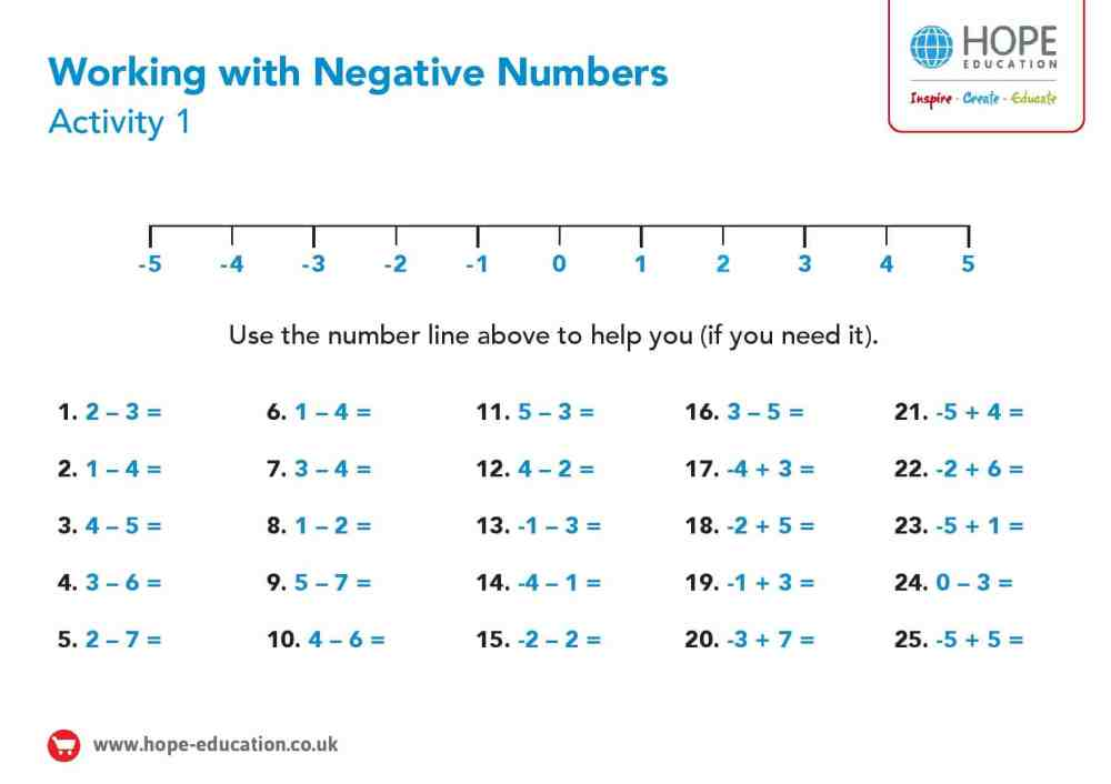 medium resolution of Number line with negative numbers: A printable worksheet - Hope Education  blog
