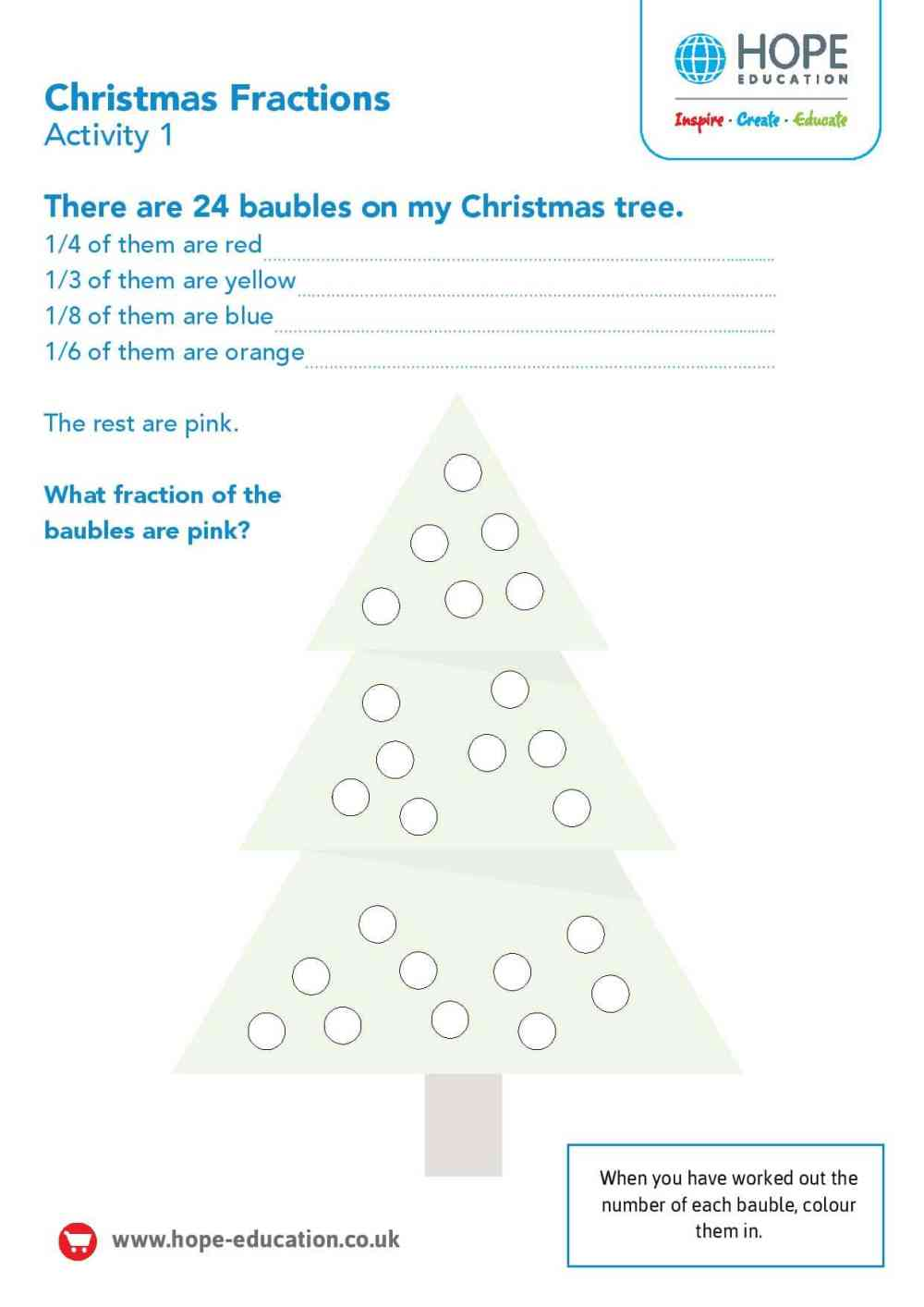 medium resolution of Christmas tree fractions: A festive maths worksheet - Hope Education blog